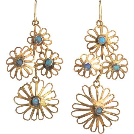 Judy Geib  Opal Flower Filigree Earrings