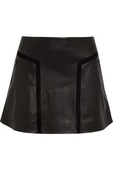 Rag & Bone  Louise Flared Leather Mini Skirt
