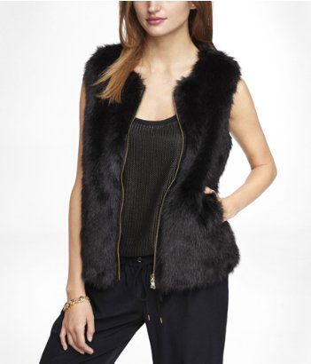 Express  Faux Fur Zip-Up Vest
