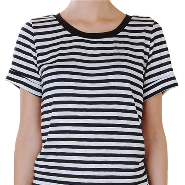 Humble Chic Humble Chic Striped Zip Back Tee