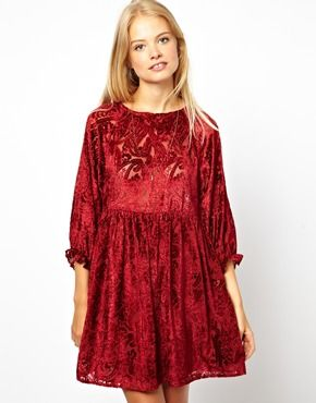 ASOS  Smock Dress with Velvet Burnout