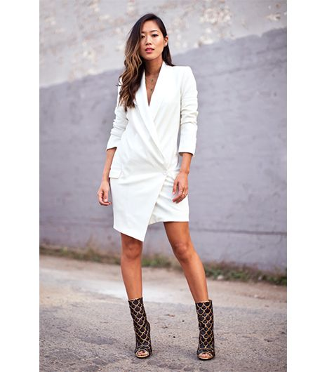 Aimee Song of Song of Style  Haute Hippie's Oversize One-Button Asymmetric Blazer ($595) is ready for after-hours fun when paired with Balmain's leather peep-toe boots, as Song...