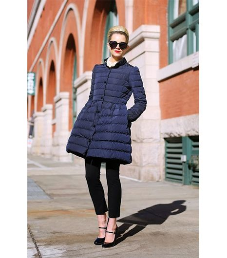 Blair Eadie of Atlantic-Pacific  Thanks to a fit-and-flare silhouette, Eadie's RED Valentino Taffeta Puffer Coat ($895) easily doubles as a ladylike frock.