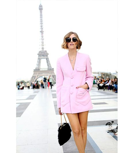 Chiara Ferragni of The Blonde Salad  Ferragni's cotton candy pink Sonia Rykiel jacket is just long enough to function as a mini dress.