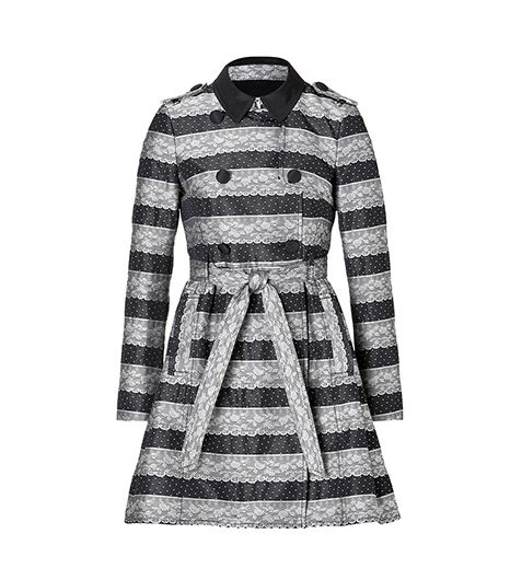 RED Valentino  RED Valentino Belted Lace Print Coat