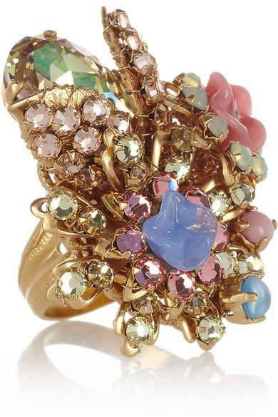 Bijoux Heart  Sucre Gold-Plated, Swarovski Crystal and Glass Ring