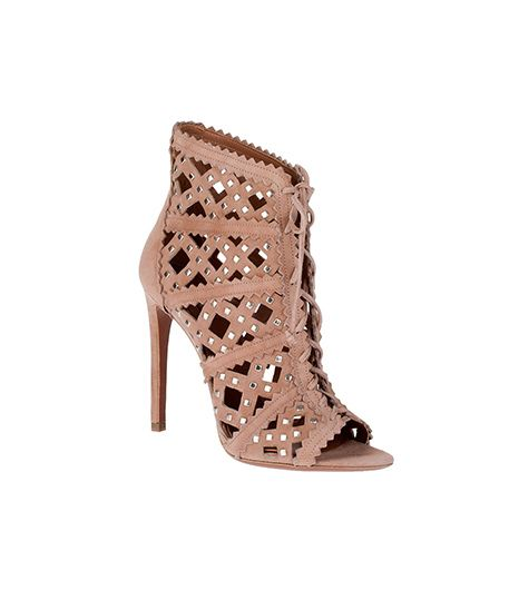 Alaia  Alaia Studded Suede Lace-Up Bootie