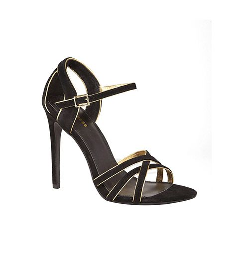 Express Express Suede and Metallic Trim Heeled Runway Sandal
