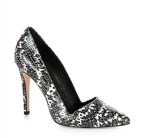 Alice + Olivia  Dina Snake Print Leather Pumps