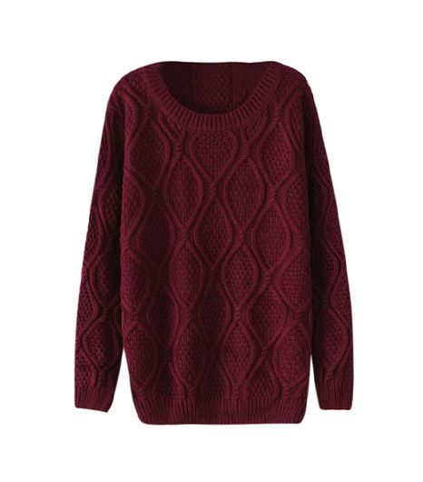 She Inside  Dark Red Long Sleeve Diamond Patterned Pullover Sweater