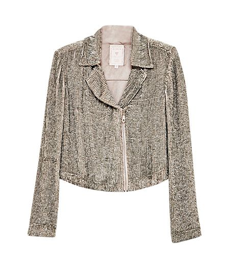 Guess Long-Sleeve Sequined Moto Jacket