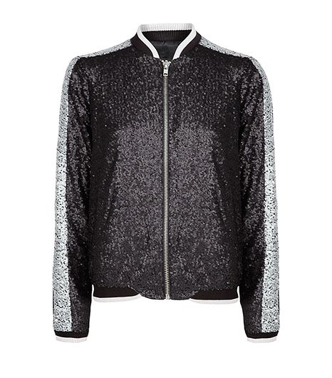 Mango Sequin Bomber Jacket