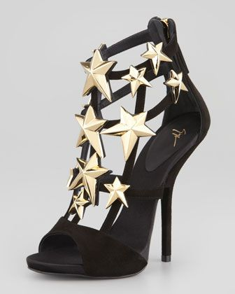 Giuseppe Zanotti  Star-Detail Suede Cage Bootie-Sandal