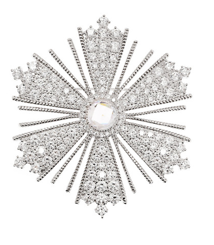 Kenneth Jay Lane  Rhodium-Plated Cubic Zirconia Brooch