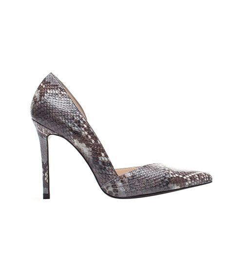 Zara  Zara Snakeskin High Heel Leather Court Shoe