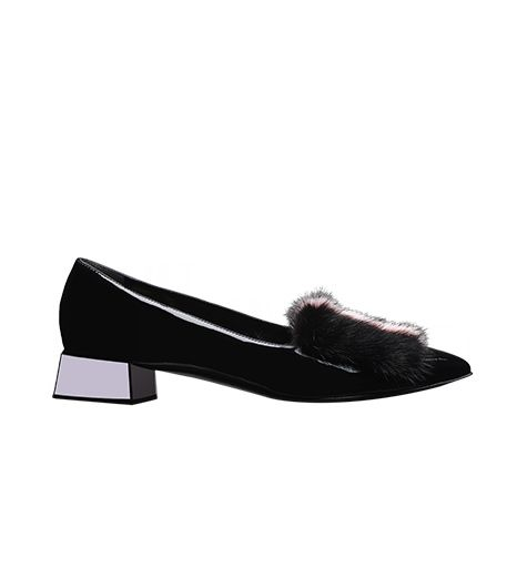 Fendi  Fendi Fur-Trimmed Patent Leather Diamond-Heel Pumps