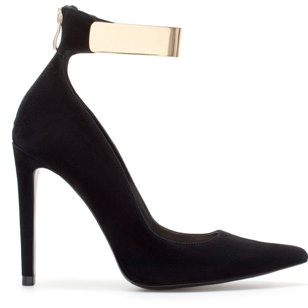 Zara Zara Leather High Heel Court Shoe with A Metal Ankle Strap
