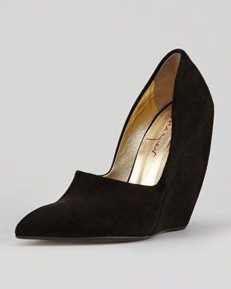 Walter Steiger  Suede High-Vamp Curved-Heel Wedge Pump