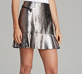Marc by Marc Jacobs  Celeste Metallic Leather Skirt