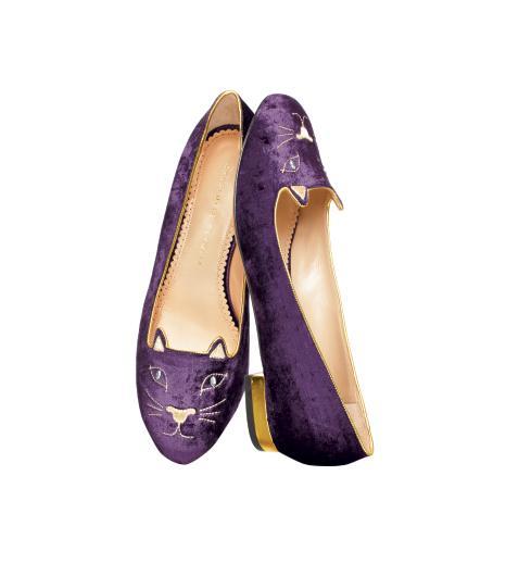 Charlotte Olympia  Charlotte Olympia Purple Velvet Kitty Slippers