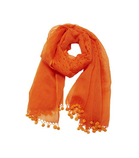 L-atitude Orange Pom Pom Shawl