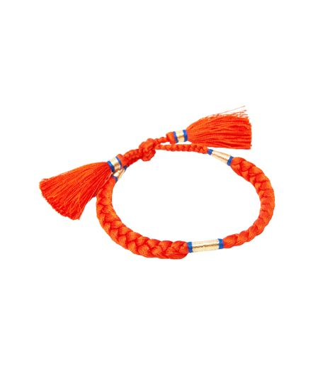 L-atitude Hot Orange Pom Pom Bracelet