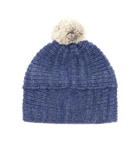 Echo Design  Wool Blend Hat with Rabbit Fur Pom