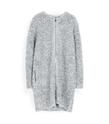 Zara Zara Loop Knit Coat With Zip