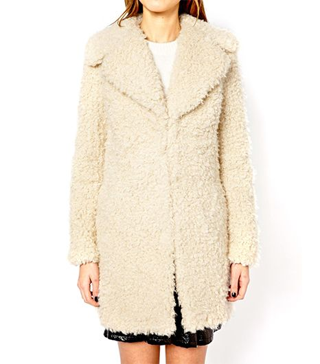 Warehouse Warehouse Faux Fur Cream Coat