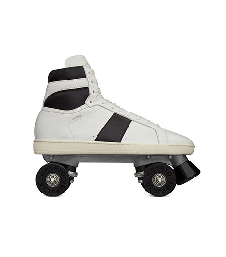 "Saint Laurent Saint Laurent Classic Roller Skates ""Court Classic"" in Optic White & Black Leather"