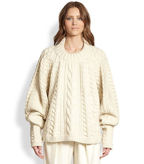 The Row The Row Wool & Cashmere Cable-Knit Blouson Sweater
