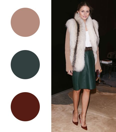 Olivia Palermo  Beige + Forrest Green + Ruby Red