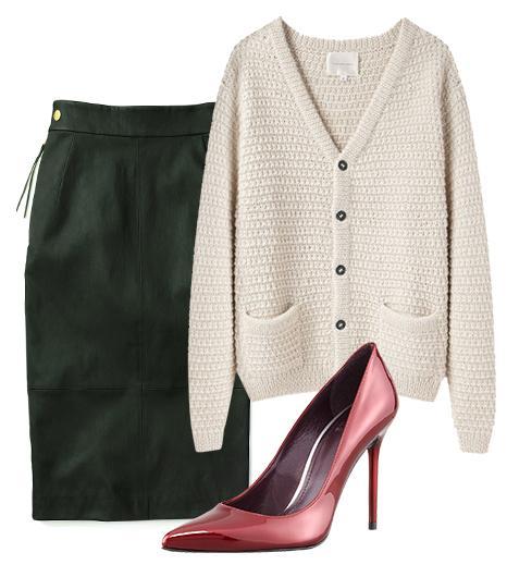 Get The Look:  La Garconne Moderne Sylvia Alpaca Handknit Cardigan ($450); Coach Leather Sexy Skirt ($898); Stuart Weitzman Nouveau Patent Leather Pump ($340) in Dark Red.