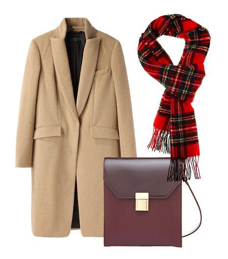 Get The Look:   Rag & Bone Roseburg Coat ($1095); ASOS Glen Lossie Plaid Lambswool Scarf ($29); Couronne Ashley Handbag ($366).