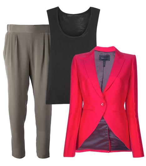 Get The Look:   Victoria Beckham Denim Washed-Silk And Jersey Tank ($130); Emporio Armani Cropped Trouser ($253); BCBGMAXAZRIA Curved Hem Blazer ($262).