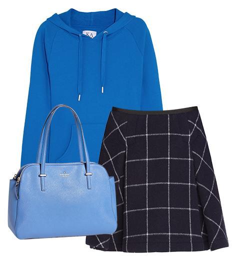 Get The Look:   Zoe Karssen Hooded Cotton-Blend Jersey Sweatshirt ($120); kate spade new york Cedar Street Elissa Leather Tote ($368) in Bluebell; Sacai Luck Check Print Pleated Skirt ($725).