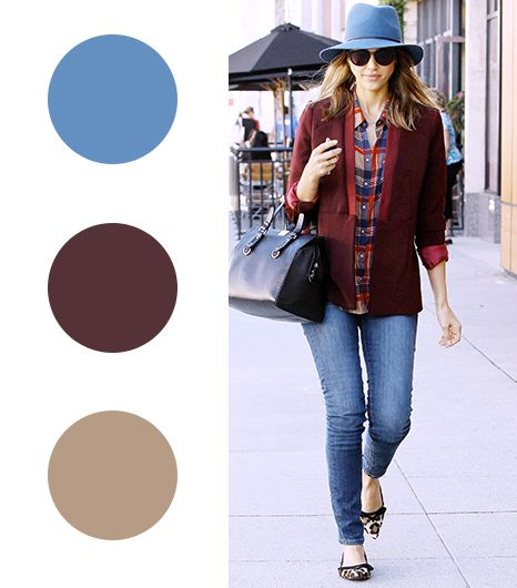 Jessica Alba   Dusty Blue + Cranberry + Beige