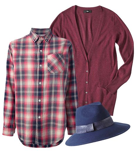 Get The Look:   Current/Elliott Studded Plaid Shirt ($317); Mossimo Womens V-Neck Ultra Soft Boyfriend Cardigan ($25) in Red; Anthropologie Revue Fedora ($58) in Blue.
