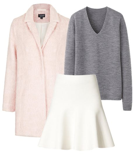 Get The Look:   Topshop Fluffy Swing Boyfriend Coat ($178); Uniqlo Women Extra Fine Merino V Neck Sweater ($30); BCBGMAXAZRIA Flared Stretch Knit Skirt ($158).