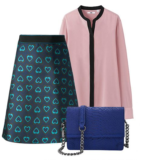 Get The Look:  Aquilano.Rimondi Hearts Print Skirt ($513); Uniqlo Women Stand Collar Long Sleeve Blouse ($50); alice + olivia Clee Side Snake Embossed Leather Crossbody ($395).