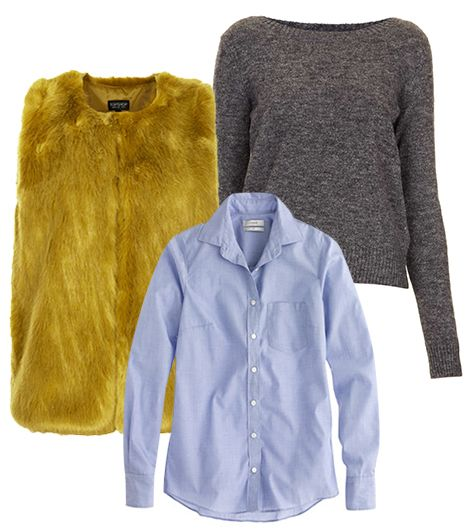 Get The Look:   Topshop Boxy Fur Gilet ($130); Topshop Knitted Crew Neck Jumper ($80); J.Crew Boy Shirt ($78) in End-On-End.