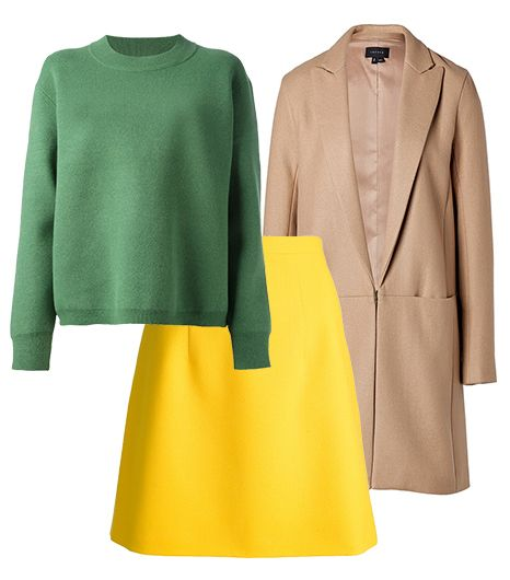 Get The Look:   Theory Wool Elibeth Coat ($690) In Camel; Christopher Kane A-Line Miniskirt ($580); Acne Misty Sweater ($484).