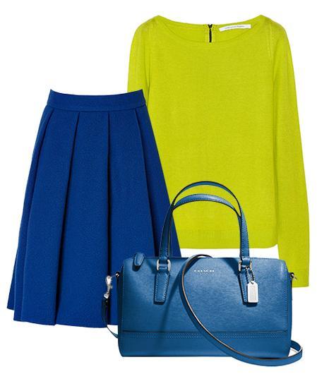 Get The Look:   Diane Von Furstenberg New Noa Silk And Cashmere-Blend Sweater ($110); J.W. Anderson Wool-Blend Ten Pleat Skirt ($510) in Blue; Coach Mini Satchel ($228) in Saffiano Leather.