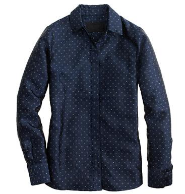 J.Crew Collection Boy Shirt In Navy Tie Silk