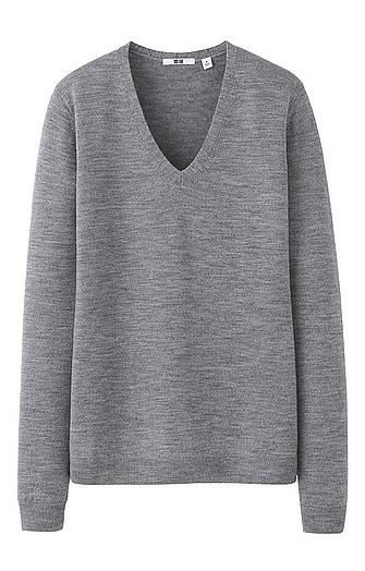 Uniqlo Women Extra Fine Merino V Neck Sweater