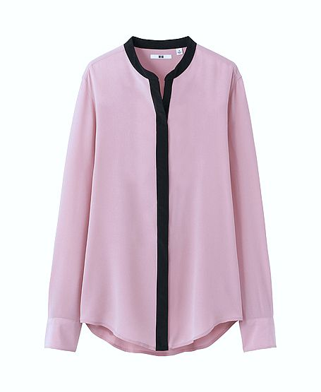 Uniqlo Women Stand Collar Long Sleeve Blouse