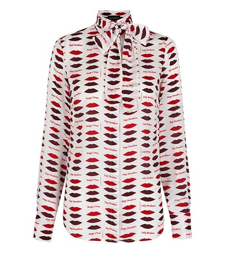 L'Wren Scott Banana Republic L'Wren Scott Banana Republic Lip Print Bow Blouse