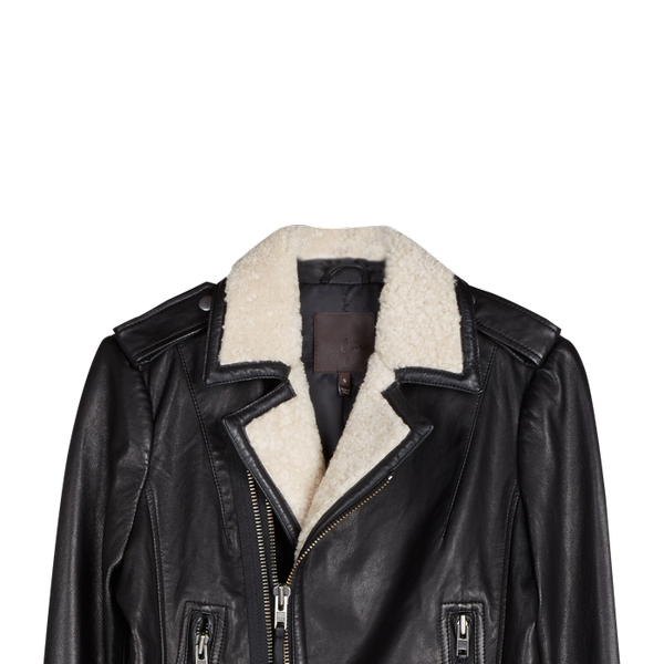 Joie Ailey  Shearling-Trimmed Leather Jacket