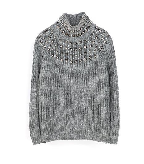 Zara Zara High Neck Sweater With Strass
