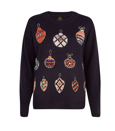 River Island River Island Navy Embellished Bauble Christmas Sweater